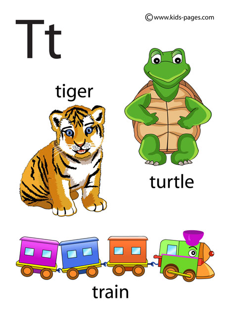 Letter T flashcard