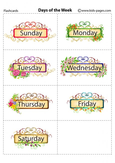 Pin Days Of The Week Flash Cards Printable on Pinterest