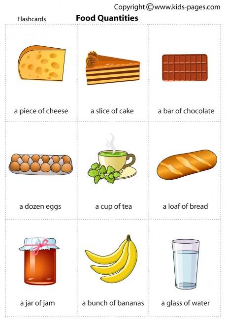 food quantities flashcard