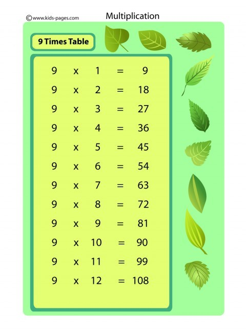 9 Times Table Flashcard