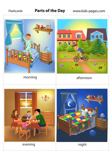parts of the day flashcard. Black Bedroom Furniture Sets. Home Design Ideas