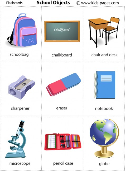 School Objects Flashcard