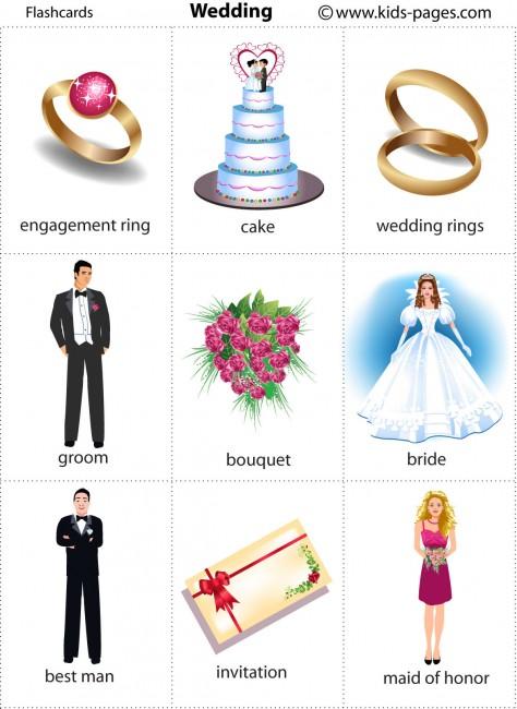 Printable flash card illustrating: engagement ring, cake, wedding ...