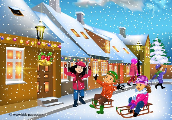 Children Having Fun Playing With Snow