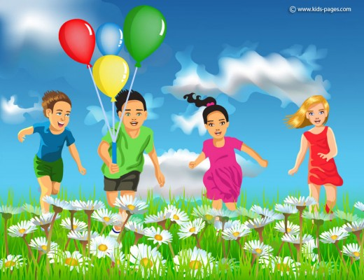 Children Running in the Field of Flowers