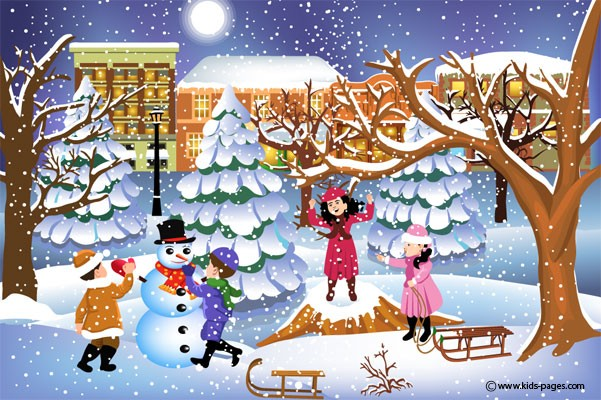 Happy Children Playing in the Snow