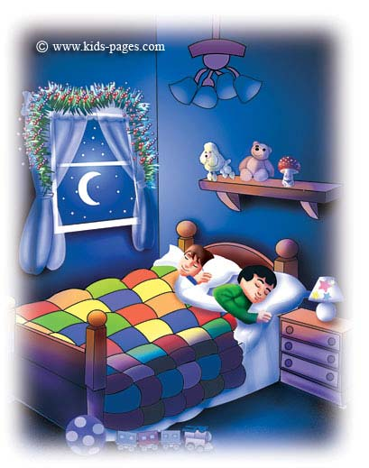 The children were nestled all snug in their beds,