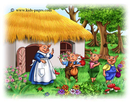 Once upon a time there was and old pig with three little pigs  and one    Three Little Pigs Story Online
