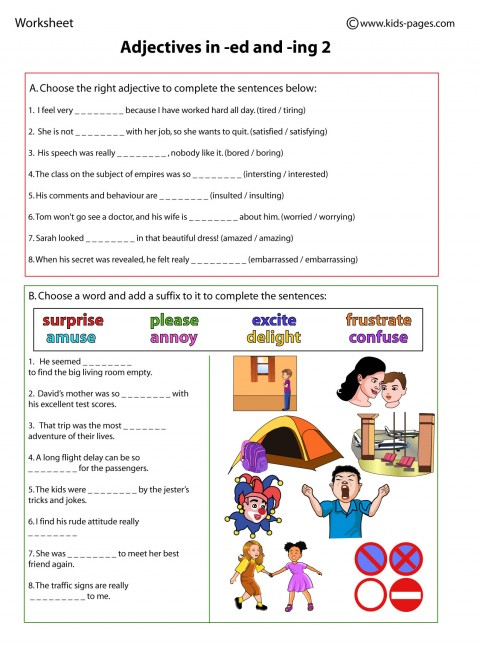 Adjectives in ed and ing 2 worksheet