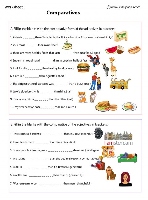 Comparatives Worksheets For Kids comparatives worksheet