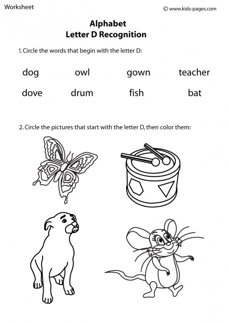 Letter D Recognition worksheet