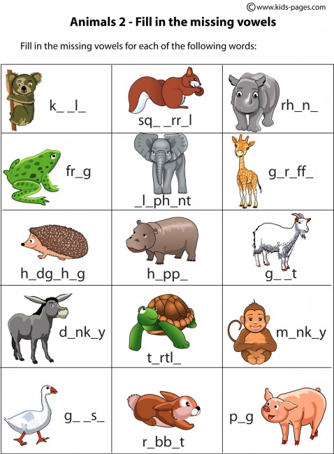 Animals Fill In 2 worksheets