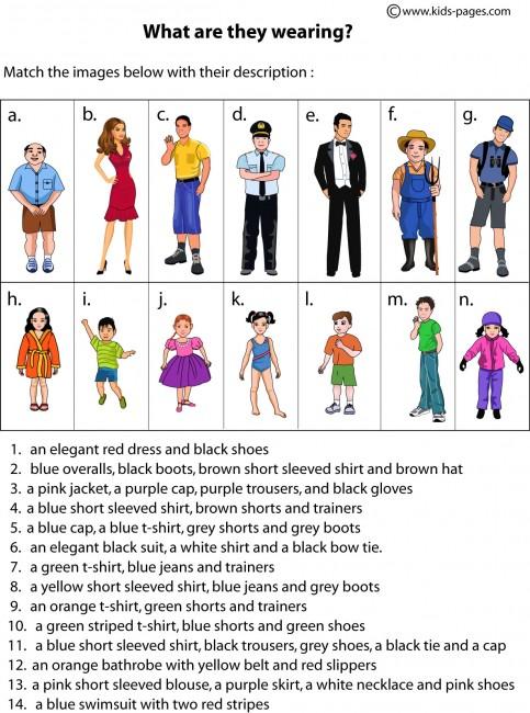 Clothes Description Worksheet