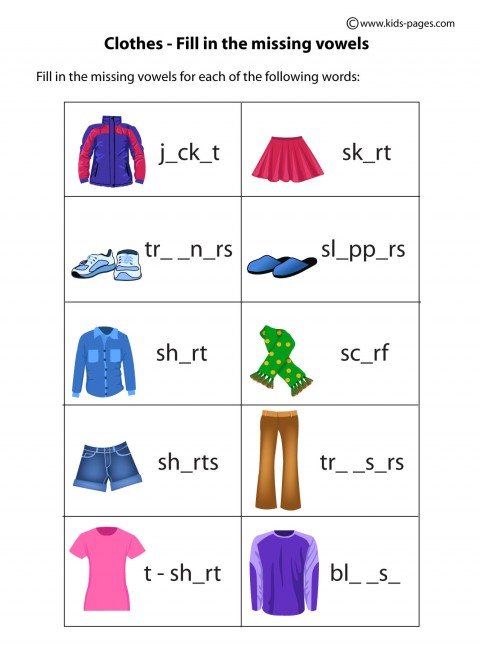 clothes fill in worksheet clothes index printable worksheet pdf