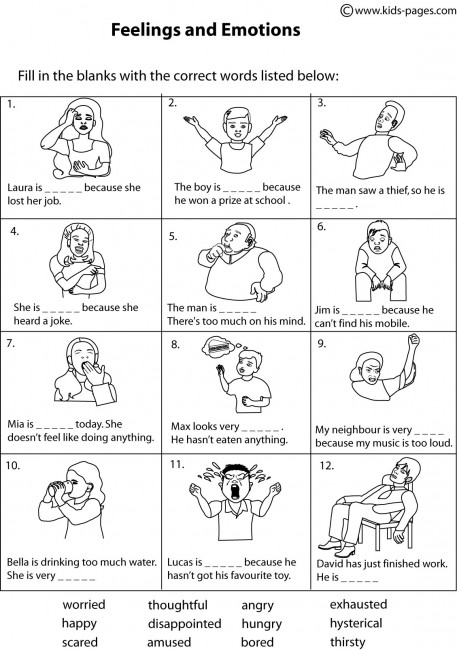 Worksheet Feelings And Emotions Worksheets Pdf feelings matching 2 bw worksheet worksheets