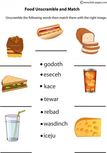 Free Worksheets french pets worksheet : Food Unscramble worksheet