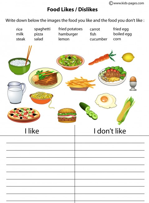 Food - Likes/Dislikes worksheet