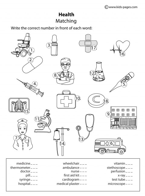 Health Matching B&W worksheets