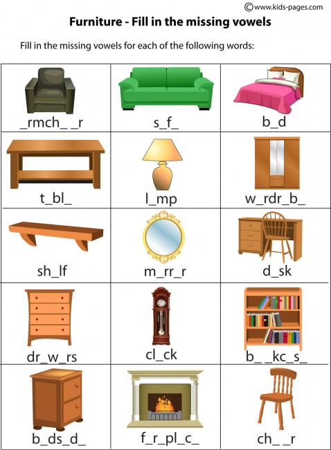 Furniture Fill In Worksheet