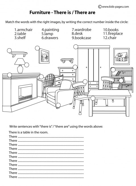 Furniture there is there are b w worksheet for Furniture quiz questions