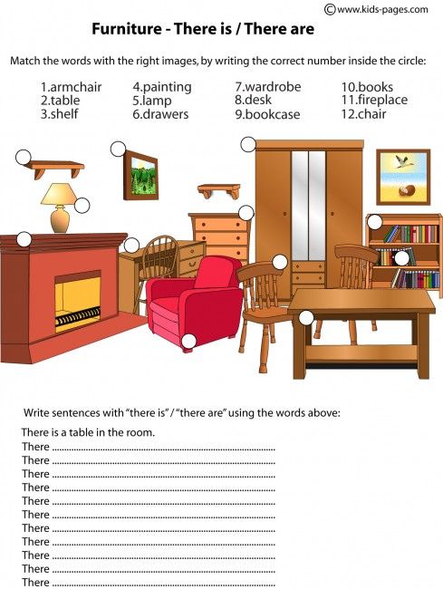 Furniture There Is There Are Worksheet