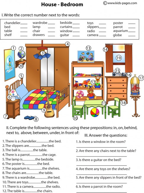 Printables Prepositions Worksheet bedroom and prepositions worksheet worksheets