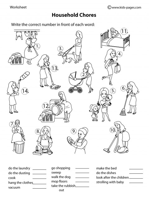Household Chores BampW Worksheet