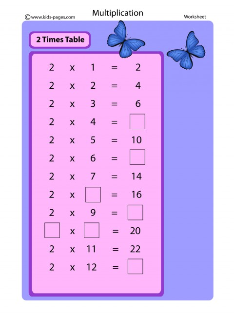 2 Times Table worksheet