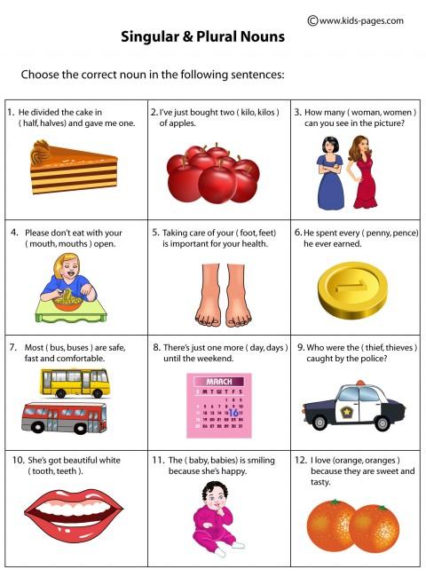 Singular and Plural Nouns worksheet