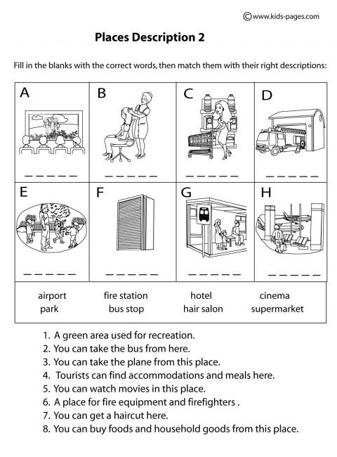 My Worksheet Place : Place descriptions b w worksheet
