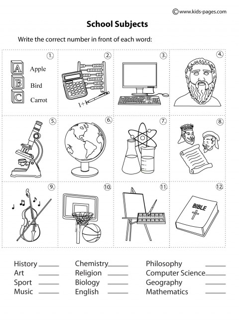 designs coloring pages school subjects - photo#31