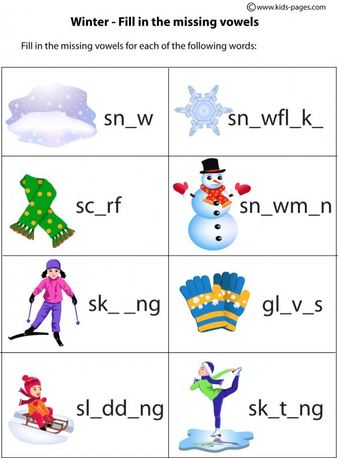 Winter Fill In worksheet