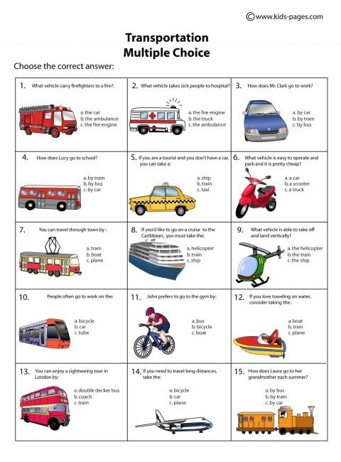 transportation multiple choice worksheet. Black Bedroom Furniture Sets. Home Design Ideas