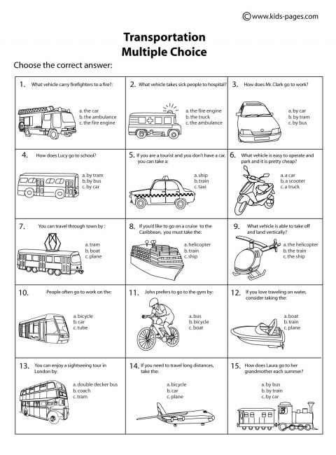 Printables Transportation Worksheets transportation multiple choice bw worksheet worksheets
