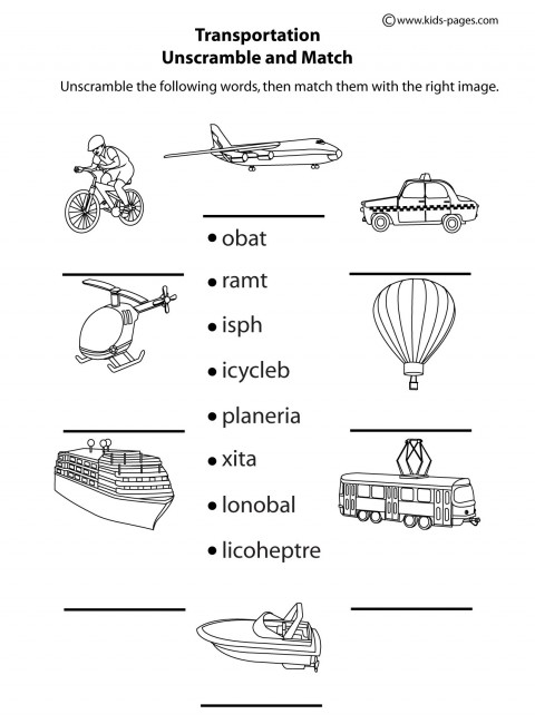 Printables Transportation Worksheets transportation unscramble bw worksheet worksheets