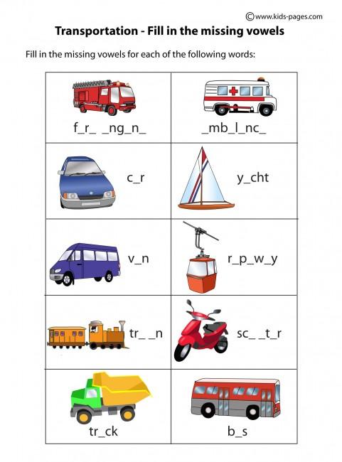 Transportation Fill In worksheet