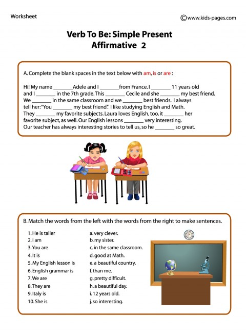 Verb To Be Affirmative 2 worksheets