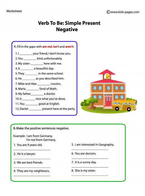 Verb Negative Worksheet
